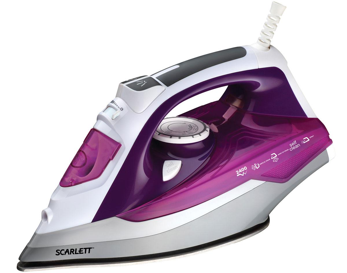 Scarlett SC-SI30P05, Violet утюгSC-SI30P05Scarlett SC-SI30P05 - стильный современный утюг. Его ручка удобно лежит в ладони, с его помощью можно быстро и качественно погладить одежду и постельное бельё. Пользователь может гладить с использованием пара, чтобы справиться со складками, а если складки окажутся слишком жёсткими, он может воспользоваться мощным паровым ударом. Также утюг подходит для вертикального отпаривания, причём мощность отпаривания можно регулировать. Гладкая подошва SimplePro с антипригарным покрытием хорошо скользит по одежде и постельному белью вне зависимости от того, из каких материалов они изготовлены. В резервуар помещается до 380 мл воды, этого хватит для долгого глажения, и владельцу не придётся часто прерывать работу, чтобы долить воду в резервуар.
