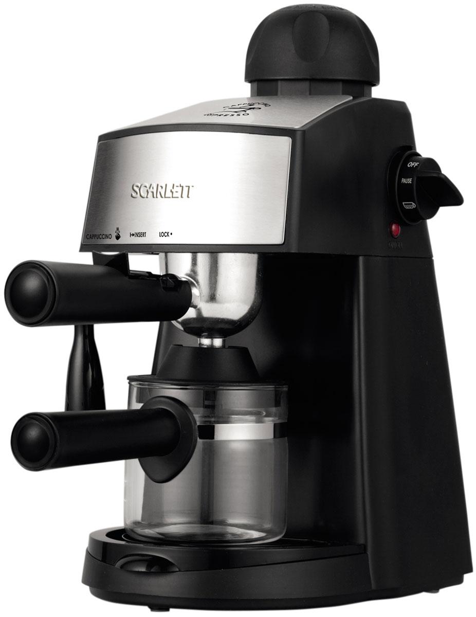 Scarlett SC-CM33004, Black кофеваркаSC-CM33004Scarlett SC-CM33004 - современная кофеварка рожкового типа, способная приготовить эспрессо или капучино из молотого кофе. Она стильно выглядит, проста в использовании, не занимает много места, оснащена резиновыми ножками, повышающими её устойчивость. Максимальное давление составляет 4 бар. Этого достаточно, чтобы кофе, приготовленный при помощи кофеварки, приобрёл богатый, насыщенный вкус и аромат. Кофеварка оснащена стеклянной колбой, в которой можно приготовить до 4 чашек кофе. Резервуар для капель значительно упрощает уход за кофеваркой. При необходимости он легко снимается и моется. К кофеварке прилагается удобная мерная ложечка, с помощью которой владелец сможет точно отмерить необходимое количество молотого кофе. Колба из термостойкого стекла Сопло для подачи пара под давлением Съемный фильтродержатель Съемный поддон для сбора капель Резиновые ножки для повышения устойчивости