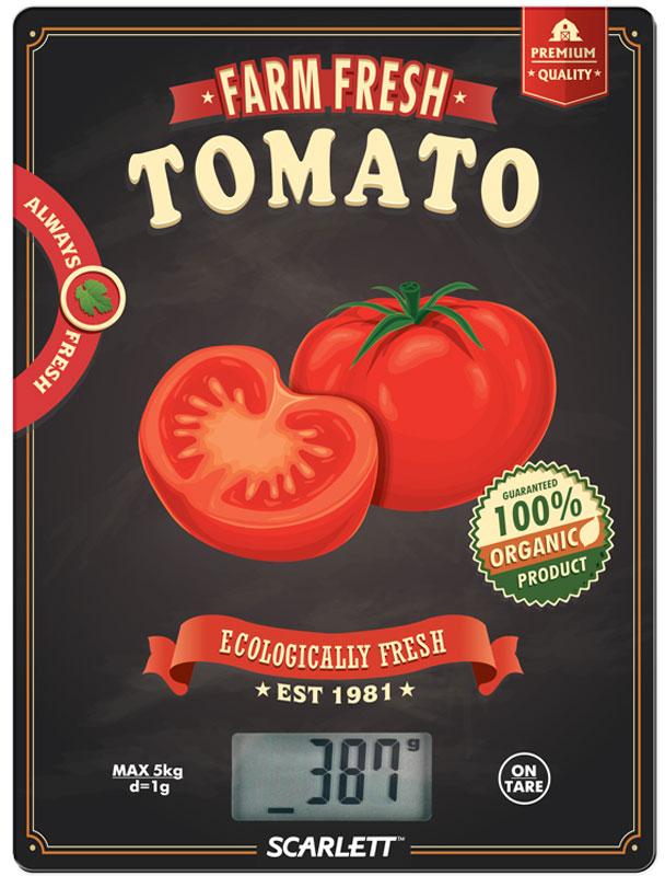 Scarlett SC-KS57P15 Tomato весы кухонныеSC-KS57P15Электронные кухонные весы Scarlett SC-KS57P15 станут незаменимым помощником на вашей кухне и позволят достаточно точно взвесить необходимое количество ингредиентов для любого блюда. За счет своих компактных размеров им найдется применение на любой, даже самой маленькой кухне, а яркий цветовой дизайн привлечет внимание. Платформа выполнена из закаленного стекла, а на цифровом табло отображаются все характеристики присущие электронным весам: тарокомпенсация, индикация перегрузки или заряда батареек. Несомненным плюсом данной модели является измерение объема жидкости.