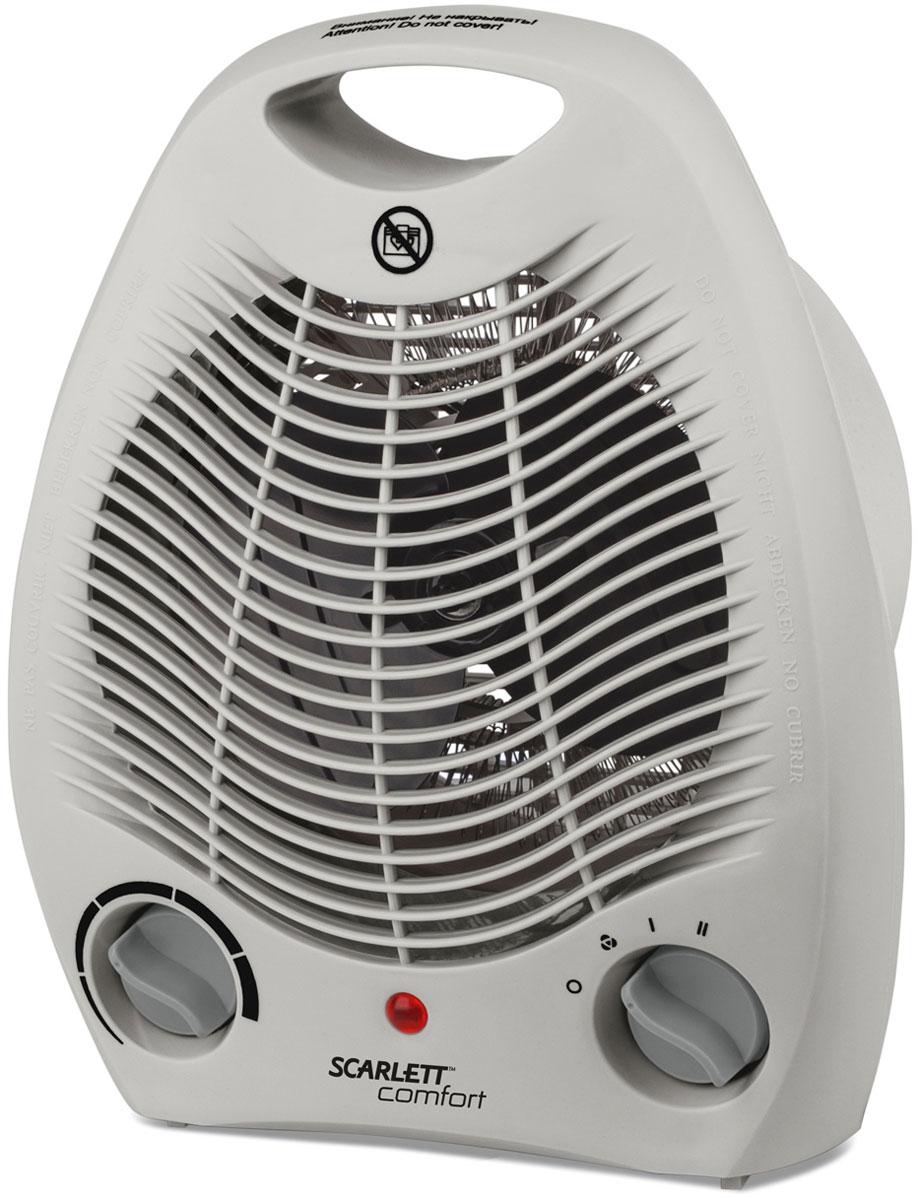 Scarlett SC-FH53002, Gray тепловентиляторSC-FH53002Scarlett SC-FH53002 - напольный тепловентилятор в компактном корпусе. Прибор имеет три режима работы: поток холодного воздуха без нагрева; теплый воздух при уровне мощности в 1000 Вт и горячий воздух при уровне мощности 2000 Вт. При работе того или иного режима горит световой индикатор. Температура изменяется с помощью регулируемого термостата, для ее повышения необходимо повернуть ручку по часовой стрелке, а для снижения – против часовой стрелки. При достаточном нагреве воздуха в помещении, повернув ручку против часовой стрелки, можно отключить тепловентилятор. При этом прибор будет автоматически поддерживать температуру, которая установилась в помещении. Тепловентилятор автоматически отключается при перегреве, благодаря чему обеспечивается безопасность его использования.