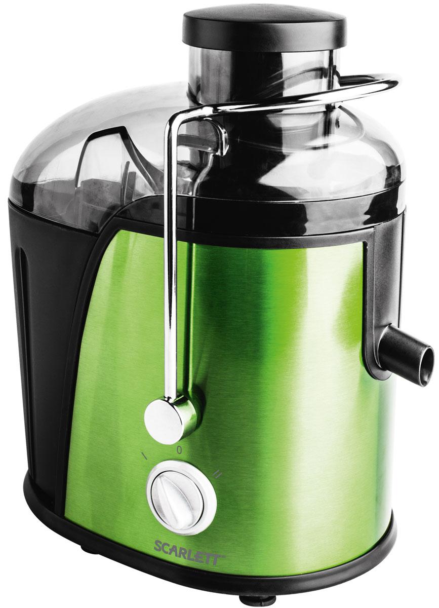 Scarlett SC-JE50S14, Green соковыжималкаSC-JE50S14Соковыжималка Scarlett SC-JE50S14 - это отличный вариант для приготовления свежевыжатого сока каждый день. Она предназначена для отжима сока из любых овощей и фруктов. Модель оснащена удобным загрузочным лотком диаметром 65 мм с возможностью отжимать сок из целых плодов, не очищая и не разрезая их на части. Две скорости работы предназначены для мягких и более твердых плодов. Прочный и долговечный фильтр из нержавеющей стали не дает мякоти попадать в сок, а замок безопасности и блокировка от включения без крышки гарантируют абсолютную безопасность в работе. Прорезиненные ножки повышают устойчивость во время работы, а также снижают вибрацию и шум. Сетчатый фильтр из нержавеющей стали Автоматическая блокировка