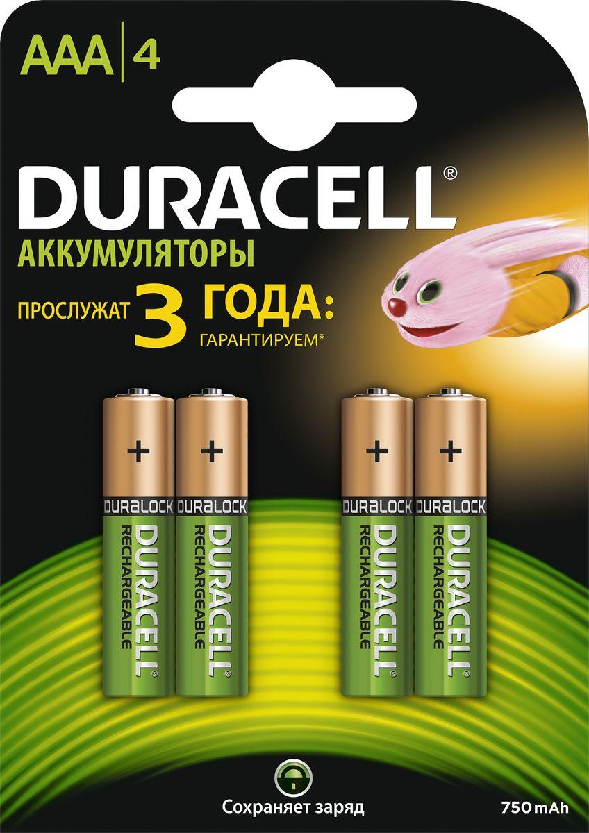 Аккумуляторная батарейка Duracell HR03-4BL, 750 mAh, 4 шт duracell hr6 4bl 2400 mah 4шт