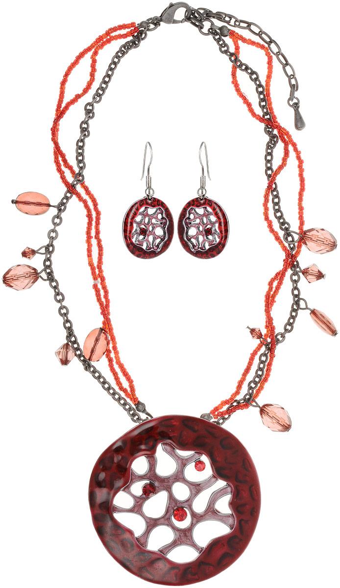 """Комплект """"Сочный гранат"""": колье и серьги. Цветная эмаль, бисер, бусины, кристаллы рубинового цвета, гипоаллергенный ювелирный сплав"""