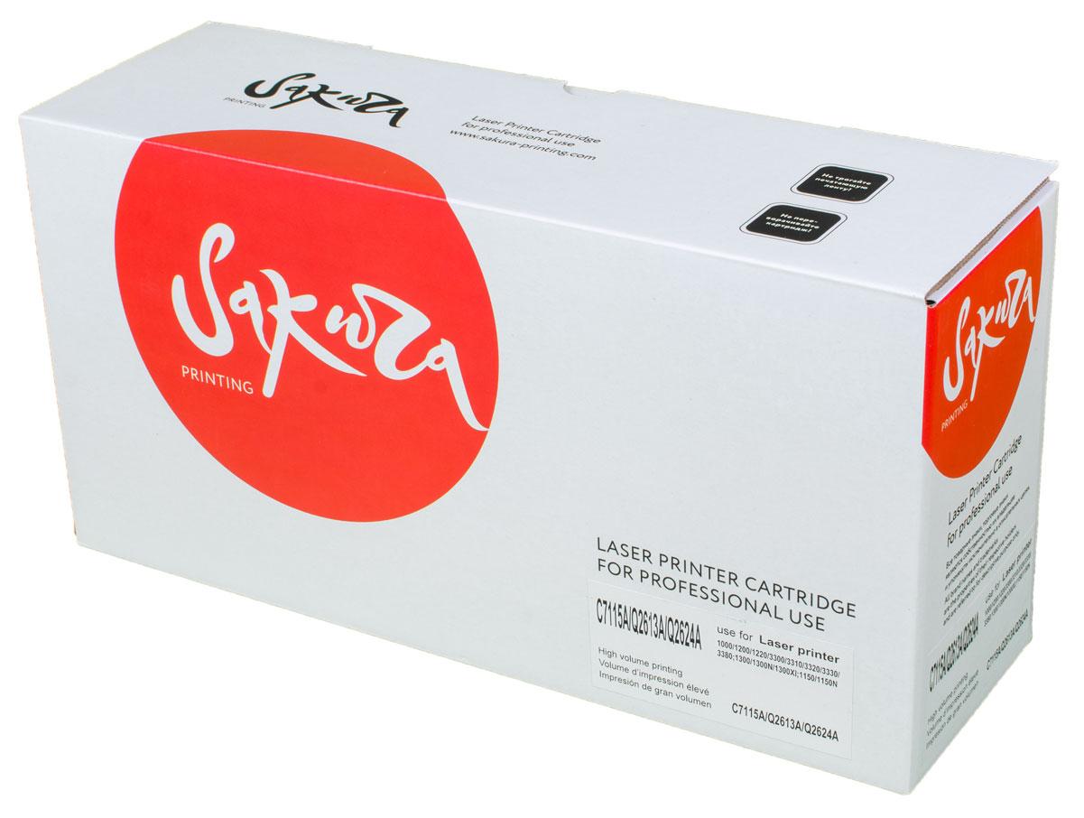 Sakura C7115A/Q2613A/2624A, Black тонер-картридж для HP LaserJet 1300/1300n/1300xi/1000/1200/1200n/1200se/1220/1220se/3300/3310/3320/3320n/3330/1150 SerieSAC7115A/Q2613A/2624A