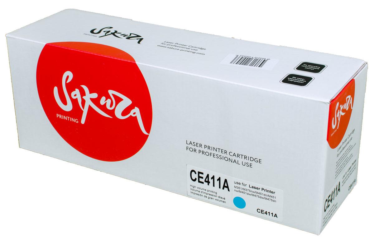 Sakura CE411A, Cyan тонер-картридж для HP LaserJet Pro Color M351/M375nw/M451dn/M451nw/M451dw/M475dw/M475dnSACE411AТонер-картридж Sakura CE411A для лазерных принтеров HP LaserJet Pro Color M351/M375nw/M451dn/M451nw/M451dw/M475dw/M475dn является альтернативным решением для замены оригинальных картриджей. Он печатает с тем же качеством и имеет тот же ресурс, что и оригинальный картридж. В картриджах компании Sakura используется химический синтезированный тонер, который в отличие от дешевого тонера из перемолотого полимера, не царапает, а смазывает печатающий вал, что приводит к возможности многократных перезаправок картриджей. Такой подход гарантирует долгий срок службы принтера, превосходное качество и стабильность печати. Тонер-картриджи Sakura производятся при строгом соответствии стандартам ISO 9001 и ISO 14001, что подтверждено международными сертификатами.