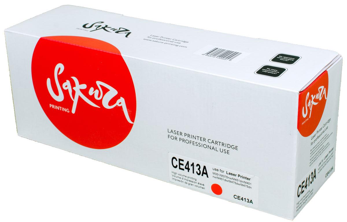 Sakura CE413A, Magenta тонер-картридж для HP LaserJet Pro Color M351/M375nw/M451dn/M451nw/M451dw/M475dw/M475dnSACE413AТонер-картридж Sakura CE413A для лазерных принтеров HP LaserJet Pro Color M351/M375nw/M451dn/M451nw/M451dw/M475dw/M475dn является альтернативным решением для замены оригинальных картриджей. Он печатает с тем же качеством и имеет тот же ресурс, что и оригинальный картридж. В картриджах компании Sakura используется химический синтезированный тонер, который в отличие от дешевого тонера из перемолотого полимера, не царапает, а смазывает печатающий вал, что приводит к возможности многократных перезаправок картриджей. Такой подход гарантирует долгий срок службы принтера, превосходное качество и стабильность печати. Тонер-картриджи Sakura производятся при строгом соответствии стандартам ISO 9001 и ISO 14001, что подтверждено международными сертификатами.