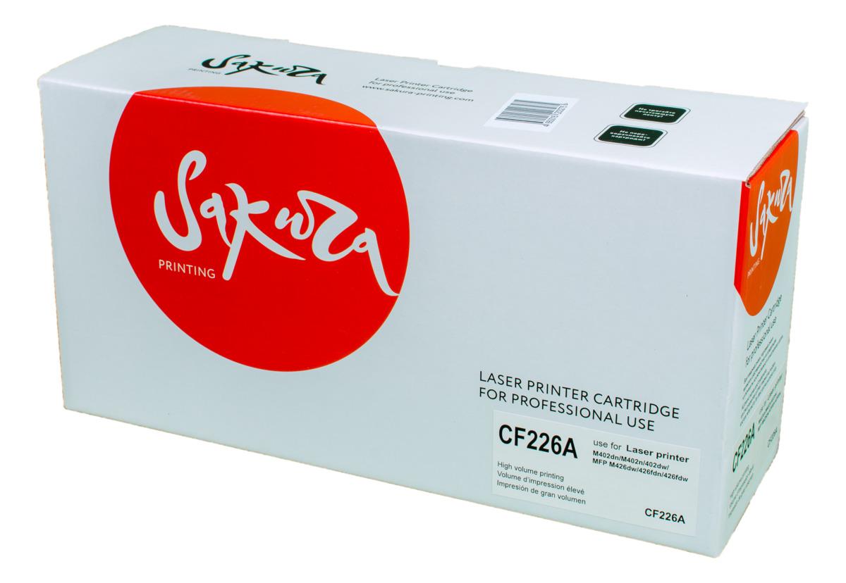 Sakura CF226A, Black тонер-картридж для HP LaserJet Pro M402n/M402dn/M402dw/M426dw/M426fdn/M426fdwSACF226AТонер-картридж Sakura CF226A для лазерных принтеров HP LaserJet Pro M402n/M402dn/M402dw/M426dw/M426fdn/M426fdw является альтернативным решением для замены оригинальных картриджей. Он печатает с тем же качеством и имеет тот же ресурс, что и оригинальный картридж. В картриджах компании Sakura используется химический синтезированный тонер, который в отличие от дешевого тонера из перемолотого полимера, не царапает, а смазывает печатающий вал, что приводит к возможности многократных перезаправок картриджей. Такой подход гарантирует долгий срок службы принтера, превосходное качество и стабильность печати. Тонер-картриджи Sakura производятся при строгом соответствии стандартам ISO 9001 и ISO 14001, что подтверждено международными сертификатами.