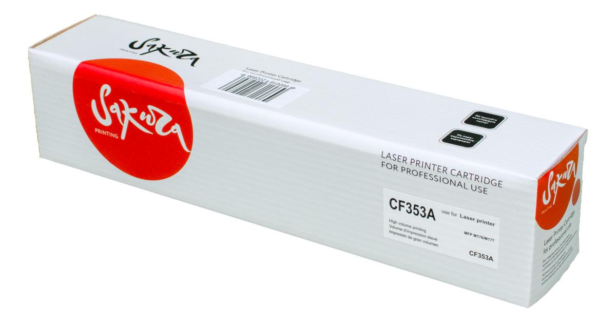 Sakura CF353A, Magenta тонер-картридж для HP LaserJet Pro M176/M177SACF353AТонер-картридж Sakura CF353A для лазерных принтеров HP LaserJet Pro M176/M177 является альтернативным решением для замены оригинальных картриджей. Он печатает с тем же качеством и имеет тот же ресурс, что и оригинальный картридж. В картриджах компании Sakura используется химический синтезированный тонер, который в отличие от дешевого тонера из перемолотого полимера, не царапает, а смазывает печатающий вал, что приводит к возможности многократных перезаправок картриджей. Такой подход гарантирует долгий срок службы принтера, превосходное качество и стабильность печати. Тонер-картриджи Sakura производятся при строгом соответствии стандартам ISO 9001 и ISO 14001, что подтверждено международными сертификатами.