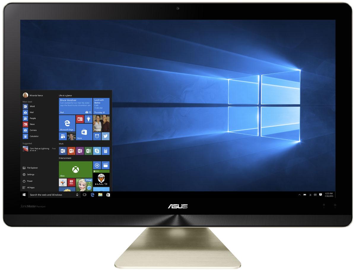 ASUS Zen AiO Pro Z220ICGT-GG067X, Black Gold моноблокZ220ICGT-GG067XМоноблочный компьютер Zen AiO Pro - еще одно доказательство того, что современные технологии могут быть красивыми. Его алюминиевый корпус золотистого цвета с оригинальной текстурой поверхности идеально впишется в любой домашний интерьер. Zen AiO Pro не только великолепно выглядит, но и выдает великолепно выглядящее изображение, ведь его IPS- дисплей обладает разрешением 1920 x 1080, широкими углами обзора (178°) и точной цветопередачей. Компьютер обладает увеличенным цветовым охватом по сравнению с обычными мониторами и способен отображать 100% оттенков цветового пространства sRGB. Это означает более яркие, насыщенные цвета, равно как и более точное, реалистичное отображение каждого цветового оттенка. Это не только красивый, но и высокопроизводительный компьютер. В его изящном корпусе скрываются мощные компоненты, в том числе новейший процессор Intel Core i7, память современного типа DDR4, качественный жесткий диск и дискретная видеокарта...