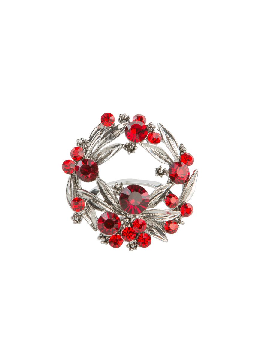 Зажим для платка Charmante, цвет: красный, серебряный. ZZ038ZZ038Оригинальный зажим для платка Charmante выполнен из металла и декорирован яркими стразами. Зажим круглой формы застегивается на клипсу. Стильный зажим для платка придаст вашему образу изюминку и подчеркнет индивидуальность.