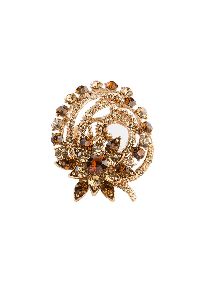 Кольцо для платка Charmante, цвет: античное золото. ZK020ZK020Оригинальное кольцо для платка Charmante выполнено из металла и декорировано цветными стразами. Аксессуар круглой формы с внутренней стороны дополнен кольцами-держателями. Стильное кольцо придаст вашему образу изюминку и подчеркнет индивидуальность.