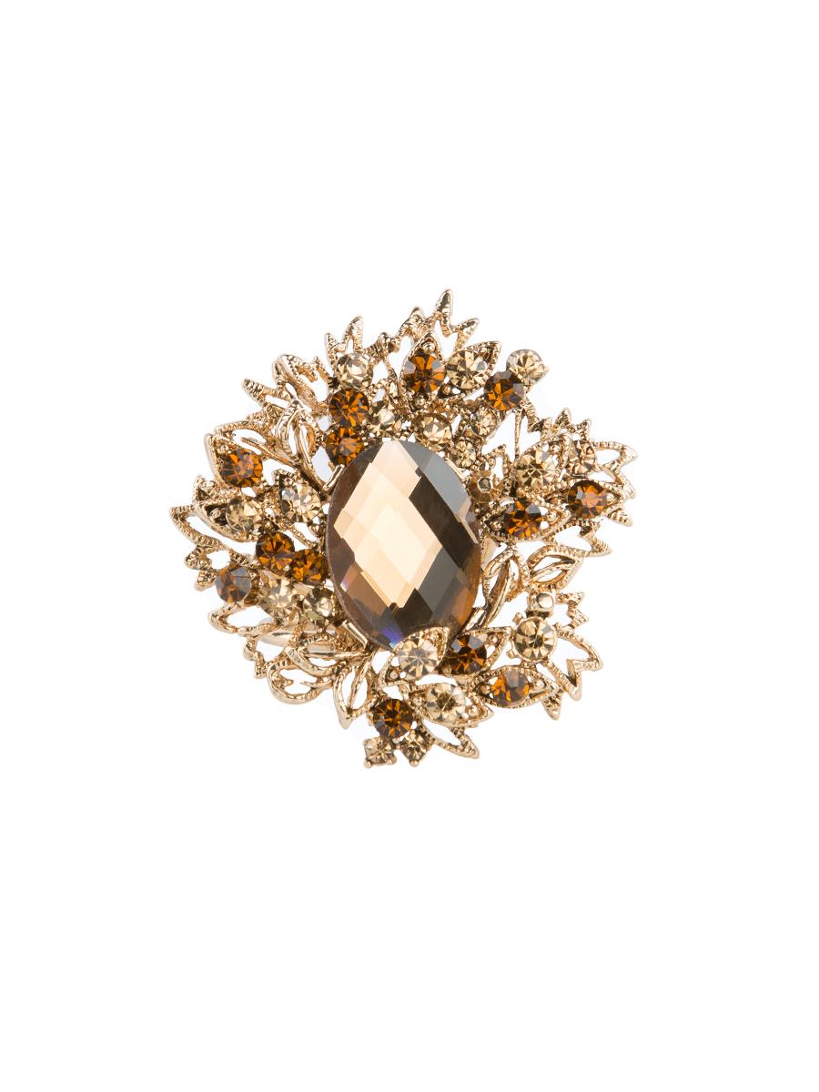 Кольцо для платка Charmante, цвет: античное золото. ZK021ZK021Оригинальное кольцо для платка Charmante выполнено из металла и декорировано цветными стразами. Аксессуар круглой формы с внутренней стороны дополнен кольцами-держателямиу. Стильное кольцо придаст вашему образу изюминку и подчеркнет индивидуальность.