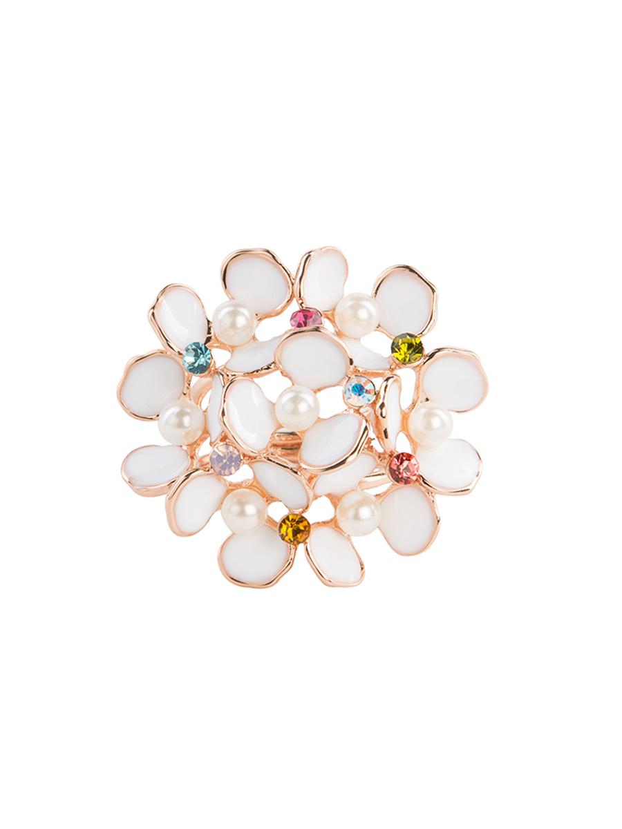 Кольцо для платка Charmante, цвет: белый, золотой. ZK008ZK008Оригинальное кольцо для платка Charmante выполнено из металла, покрытого эмалью, и декорировано цветными стразами. Аксессуар круглой формы с внутренней стороны дополнен кольцами-держателями. Стильное кольцо придаст вашему образу изюминку и подчеркнет индивидуальность.