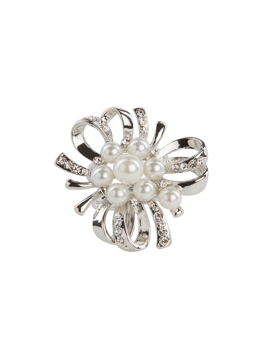 Кольцо для платка Charmante, цвет: белый жемчуг. ZK018ZK018Оригинальное кольцо для платка Charmante выполнено из металла и декорировано стразами и крупными бусинами. Аксессуар округлой формы с внутренней стороны дополнен кольцами-держателями. Стильное кольцо придаст вашему образу изюминку и подчеркнет индивидуальность.