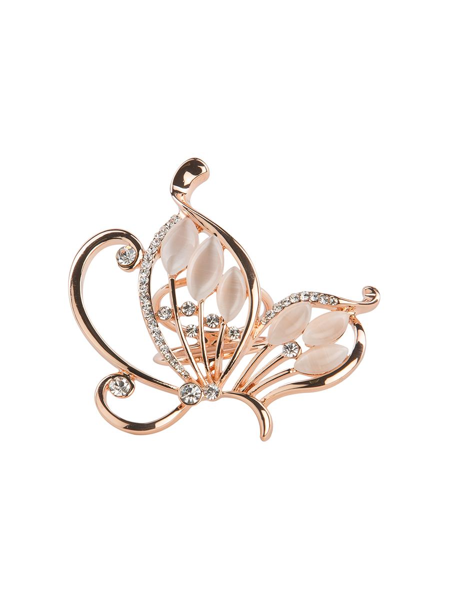 Кольцо для платка Charmante, цвет: золото. ZK024ZK024Оригинальное кольцо для платка Charmante выполнено из металла. Кольцо декорировано стразами и жемчужными бусинами. Аксессуар с внутренней стороны дополнен кольцами-держателями. Стильное кольцо придаст вашему образу изюминку и подчеркнет индивидуальность.