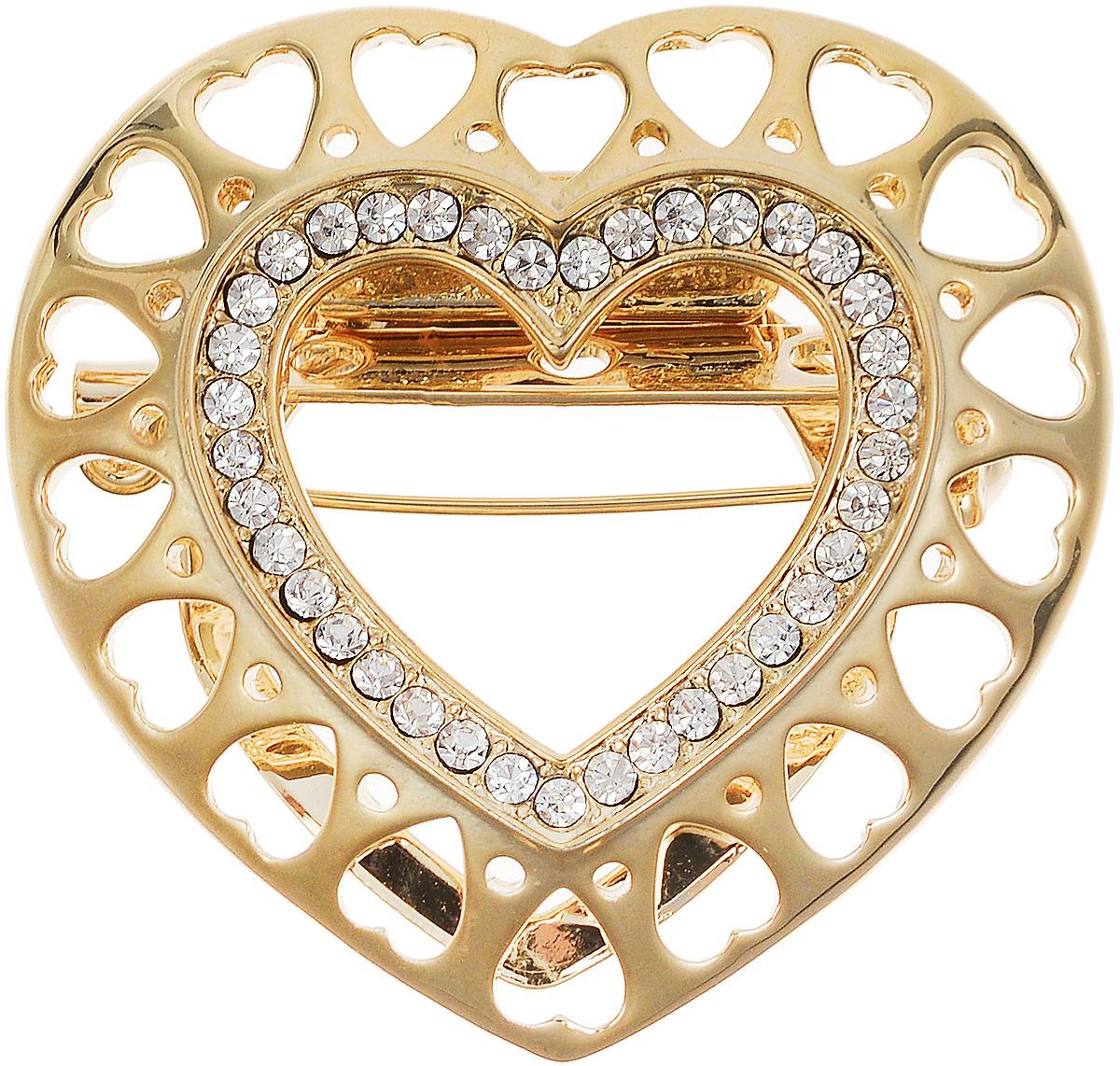 Брошь-клипса для платка Золотое сердце от D.Mari. Прозрачные стразы, бижутерный сплав золотого тона. ГонконгОС29316Брошь-клипса для платка Золотое сердце от D.Mari. Прозрачные стразы, бижутерный сплав золотого тона. Гонконг. Размер - 4 х 4 см.