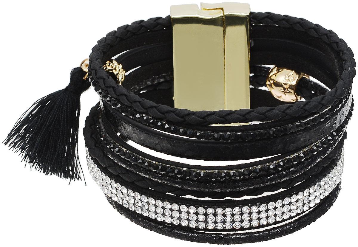 Браслет Taya, цвет: золотистый, черный. T-B-12647T-B-12647-BRAC-GL.BLACKОригинальный браслет Taya выполнен из бижутерного сплава и искусственной кожи. Композиция состоит из блестящих страз, цепочек и плетеных косичек. Застегивается браслет на широкий магнитный замок.