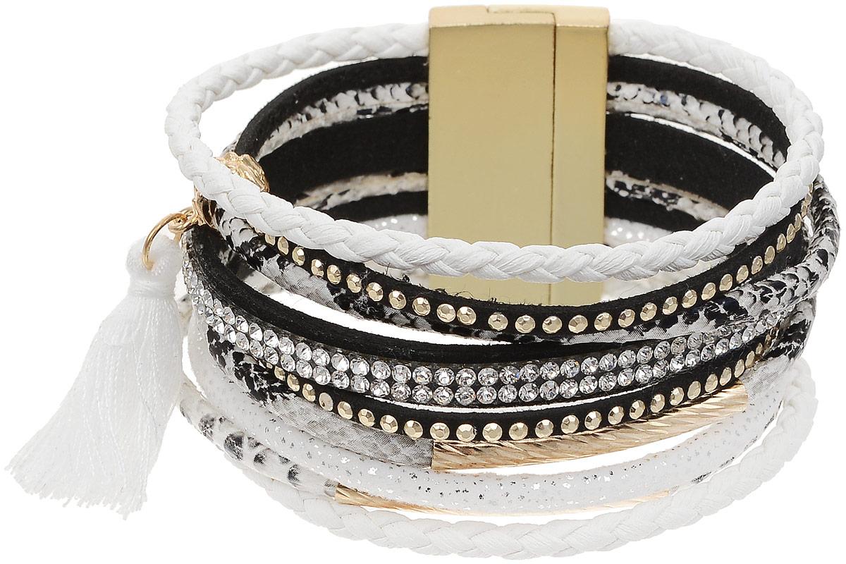 Браслет Taya, цвет: золотистый, белый. T-B-12638T-B-12638-BRAC-GL.WHITEНаборный браслет Taya из кожаных полосок разной выделки и ширины. Некоторые полоски оформлены сверкающими стразами, другие заплетены в косички, некоторые сделаны из кожи под рептилию. Середина браслета дополнена текстильной кисточкой, которая крепиться на металлическую подвеску. Изделие соединяется с помощью широкого магнитного замка.