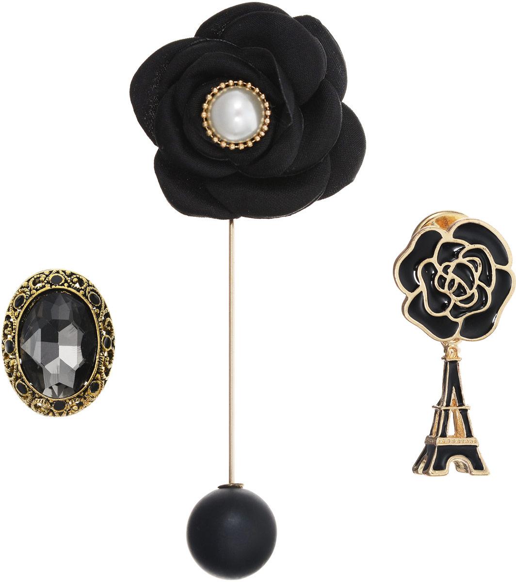 Брошь Taya, цвет: золотистый, 3 шт. T-B-12555T-B-12555-BROOCH-GOLDИзысканный набор Taya из трех брошей: брошь-булавка, в которой снимается черная матовая жемчужина-шар; брошь-значок в виде черно-золотой розы и подвеской Эйфелевой башней; брошь-значок с графитовым кристаллом в богатой рамке цвета черненого золота.