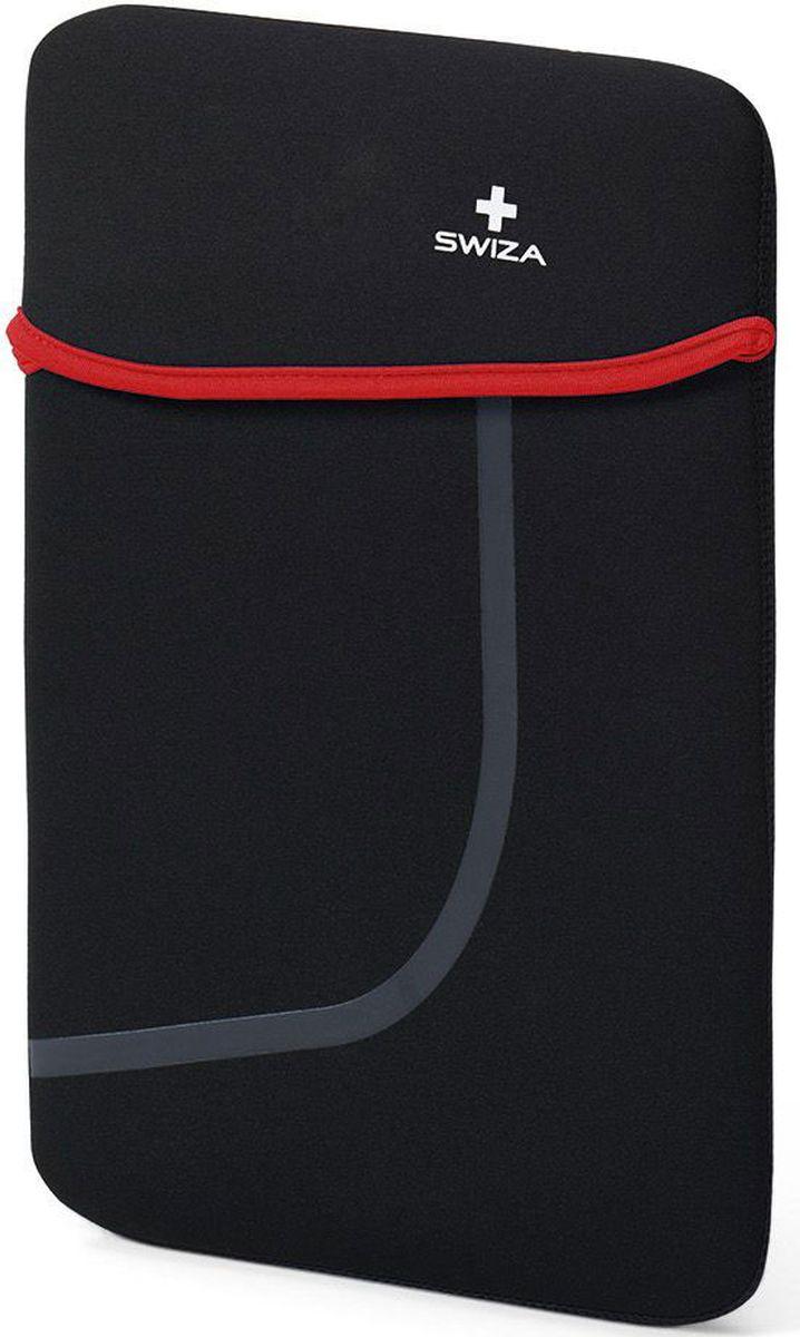 Чехол для планшета SWIZA Moranda, цвет: черный, красный, 10BSL.1012.01MORANDA изготовлена из легкого, эластичного и износостойкого неопренового материала, который обеспечивает отличную защиту и практичное использование. Двухсторонний футляр можно использовать, как самостоятельный портфель или положить в другую сумку, как вкладыш