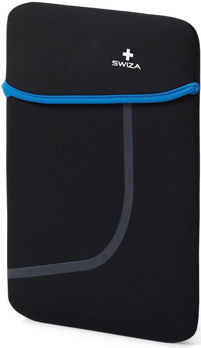 Чехол для планшета SWIZA Moranda, цвет: черный, синий, 10BSL.1012.02MORANDA изготовлена из легкого, эластичного и износостойкого неопренового материала, который обеспечивает отличную защиту и практичное использование. Двухсторонний футляр можно использовать, как самостоятельный портфель или положить в другую сумку, как вкладыш