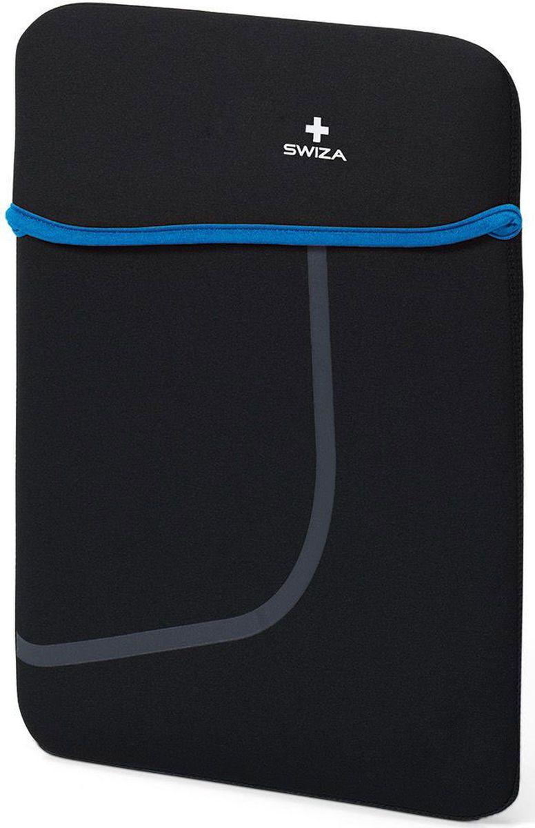 Чехол для планшета SWIZA Moranda, цвет: черный, синий, 13BSL.1013.02MORANDA изготовлена из легкого, эластичного и износостойкого неопренового материала, который обеспечивает отличную защиту и практичное использование. Двухсторонний футляр можно использовать, как самостоятельный портфель или положить в другую сумку, как вкладыш