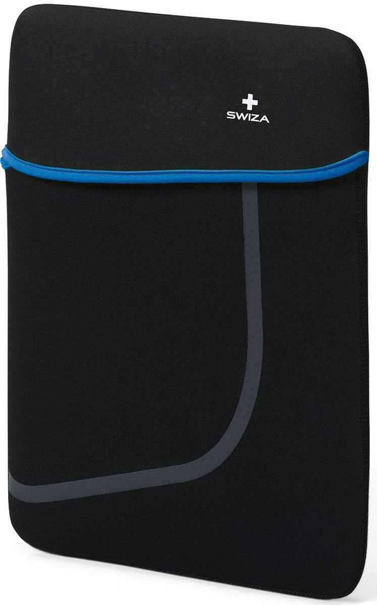 Чехол для планшета SWIZA Moranda, цвет: черный, синий, 15BSL.1014.02MORANDA изготовлена из легкого, эластичного и износостойкого неопренового материала, который обеспечивает отличную защиту и практичное использование. Двухсторонний футляр можно использовать, как самостоятельный портфель или положить в другую сумку, как вкладыш