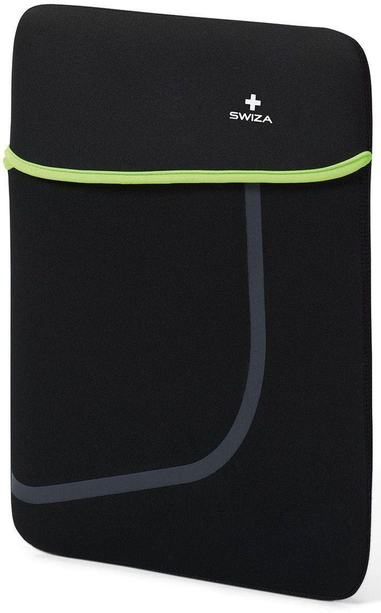 Чехол для планшета SWIZA Moranda, цвет: черный, зеленый, 15BSL.1014.03MORANDA изготовлена из легкого, эластичного и износостойкого неопренового материала, который обеспечивает отличную защиту и практичное использование. Двухсторонний футляр можно использовать, как самостоятельный портфель или положить в другую сумку, как вкладыш