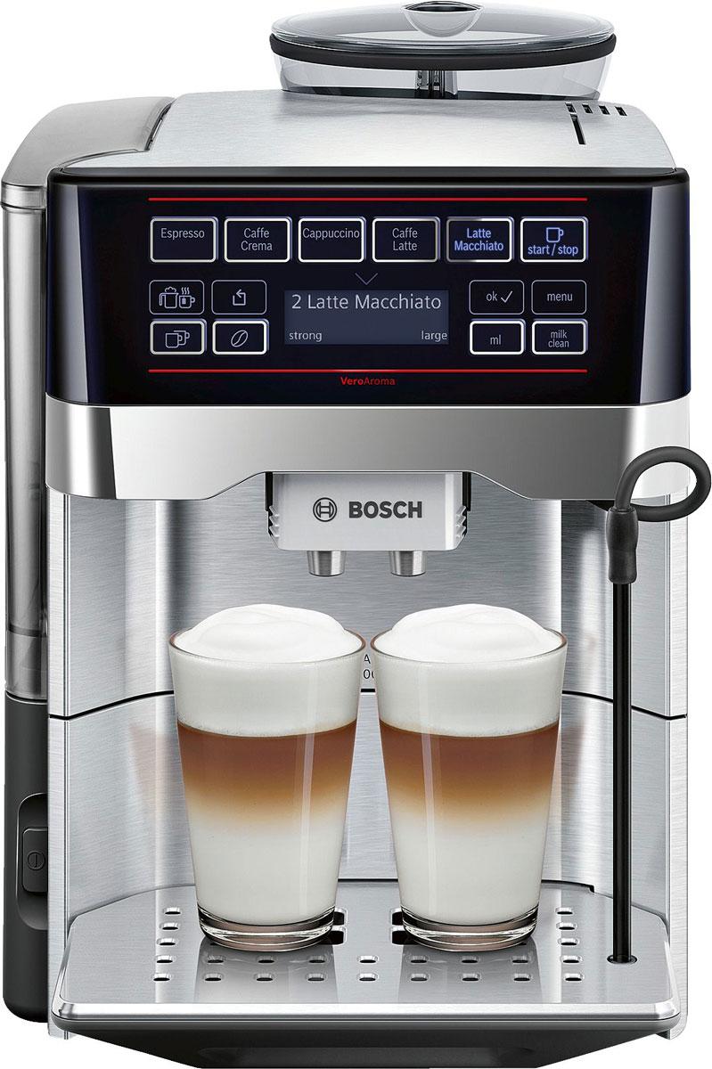 Bosch TES60729RW VeroAroma кофемашинаTES60729RWBosch TES60729RW - разнообразие вкусных кофейных напитков быстро и просто. Нажатием одной кнопки вы приготовите выбранный рецепт сразу в 2 чашки для себя и друга. Прибор выполнен из высококачественной стали, что отражает его еще больший антураж и стиль. Многообразие рецептов: эспрессо, кафе крема, капучино, кафе латте, латте макиато и другое. Изысканные напитки вкусно и быстро. OneTouch DoubleCup: одновременное приготовление напитков с молоком сразу для двух чашек. Инновационный проточный нагреватель Intelligent Heater inside: правильная температура заваривания кофе и полноценный аромат благодаря технологии SensoFlowSystem. MilkClean: чистка молочной системы нажатием одной кнопки. Гигиенично, быстро и просто. Еще больший комфорт обеспечит подсветка чашек. Single Portion Cleaning: автоматическое удаление остатков воды из подводящих трубок после каждого заваривания