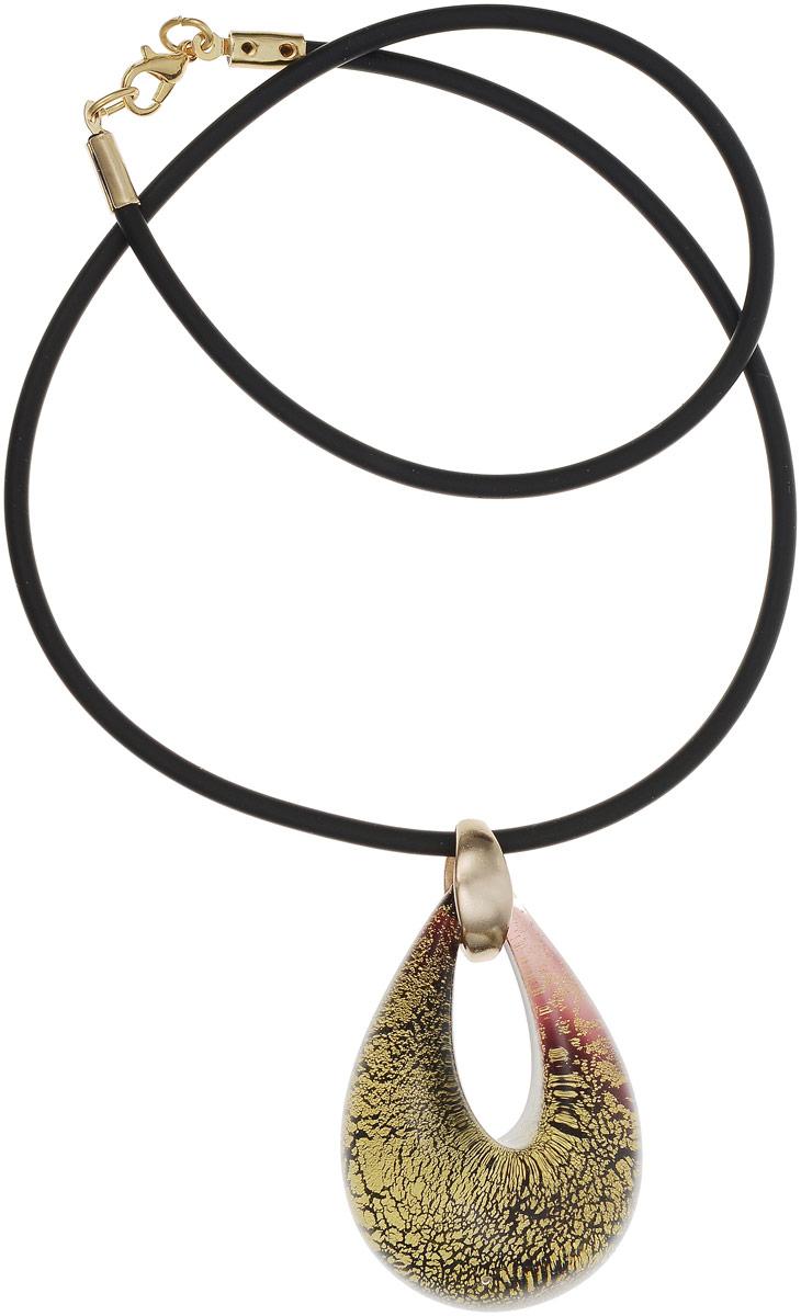 Кулон на шнурке Золотая капля. Муранское стекло, шнурок из каучука, ручная работа. Murano, Италия (Венеция)12/1020/110Кулон на шнурке Золотая капля. Муранское стекло, шнурок из каучука, ручная работа. Murano, Италия (Венеция). Размер: Кулон - 5 х 3,5 см. Шнурок - полная длина 45 см. Каждое изделие из муранского стекла уникально и может незначительно отличаться от того, что вы видите на фотографии.