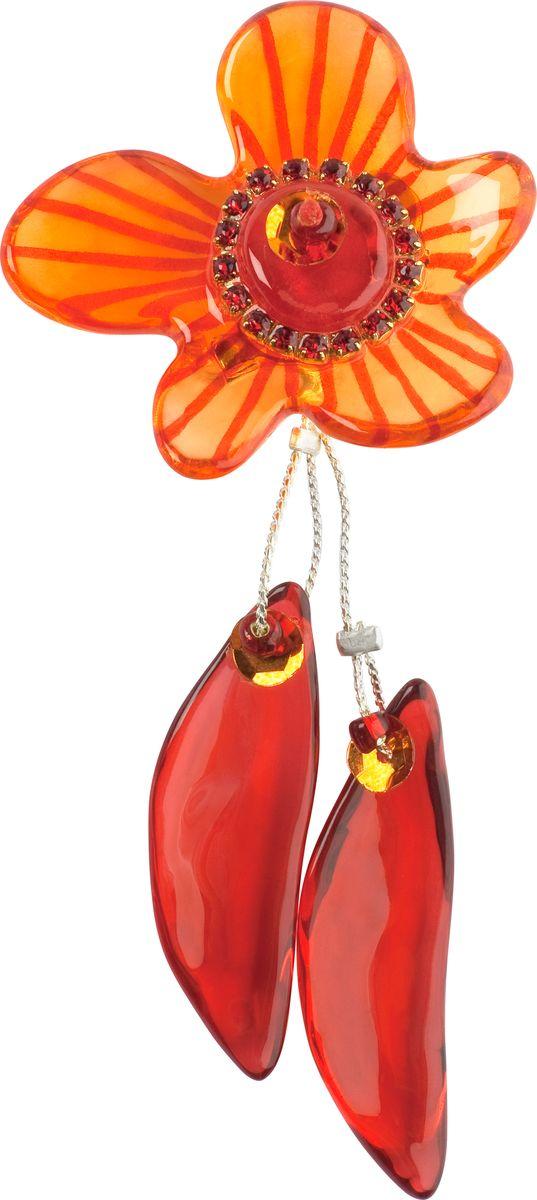 Брошь Lalo Treasures, цвет: оранжевый, красный. 17331733Яркие дизайнерские акссесуары от Lalo Treasures станут отличным дополнением к Вашему стилю