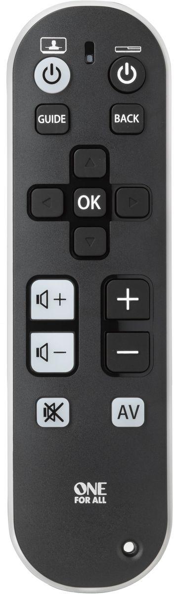 One For All URC6810 Black, пульт ДУ универсальныйURC6810Пульт дистанционного управления TV Zapper является идеальным простым в управлении используя только нужные вам клавиши. Эргономичный универсальный ТВ Zapper очень хорошо сконструирован, он имеет удобный для руки захват и резиновые ножки для устойчивости на вашем столе. Он даже поставляется с дополнительным ремешком. Этот пульт идеален для всех, кто хочет упростить управление сложными устройствами.