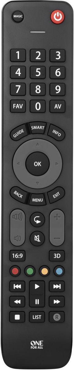One For All URC7115 Black, пульт ДУ универсальныйURC7115Пульт Evolve TV оптимизирован для работы со смарт-телевизорами и гарантировано работает со свеми ТВ брендами. Замените сломанный или потерянный пульт от вашего телевизора на этот легко настраиваемый универсальный пульт дистанционного упарвления. Благодаря широкому углу ИК передатчика вы можете управлять устройствами, даже не поворачивая пульт в их направлении.