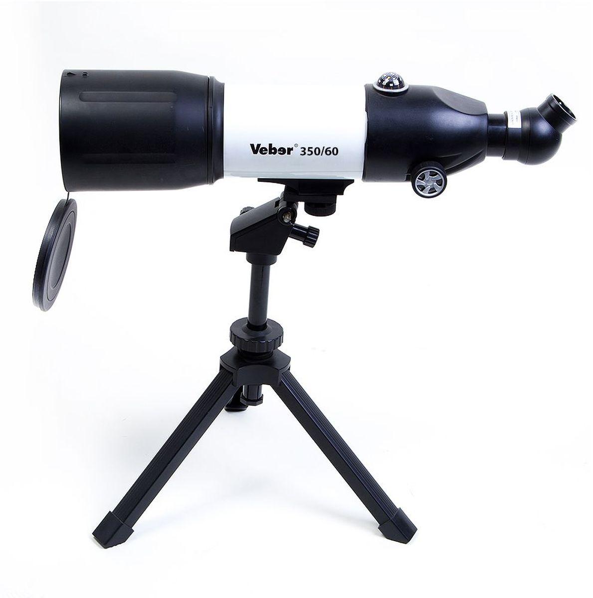 Veber 21181 телескоп21181Ахроматический рефрактор (линзовый), диаметр объектива - 60 мм, фокусное расстояние - 350 мм, настольная азимутальная монтировка. ОПИСАНИЕ Компактный телескоп-рефрактор. Удобен как для домашних астрономических (и не только) наблюдений, так и для вылазок на природу. Его длина всего 45 см, он легкий и компактный. При этом телескоп вовсе не детская игрушка! Его ахроматическая оптика дает хорошее, четкое, резкое изображение без окрашенности по краям поля зрения. С набором окуляров, входящих в комплект, можно получить увеличение от 17,5х (ближняя точка фокусировки ок.5 м) до 116,4х. Диаметр объектива — 70 мм. Об окулярной части следует сказать особо: она расположена под углом 45° к оси прибора, и может поворачиваться вокруг своей оси на 360° (8 фикс.положений). Все это делает очень комфортным наблюдение — как из положения сидя, так и из положения стоя. При этом изображение не зеркальное, где «лево» и «право» поменялись местами, а прямое! (в конструкции используется...