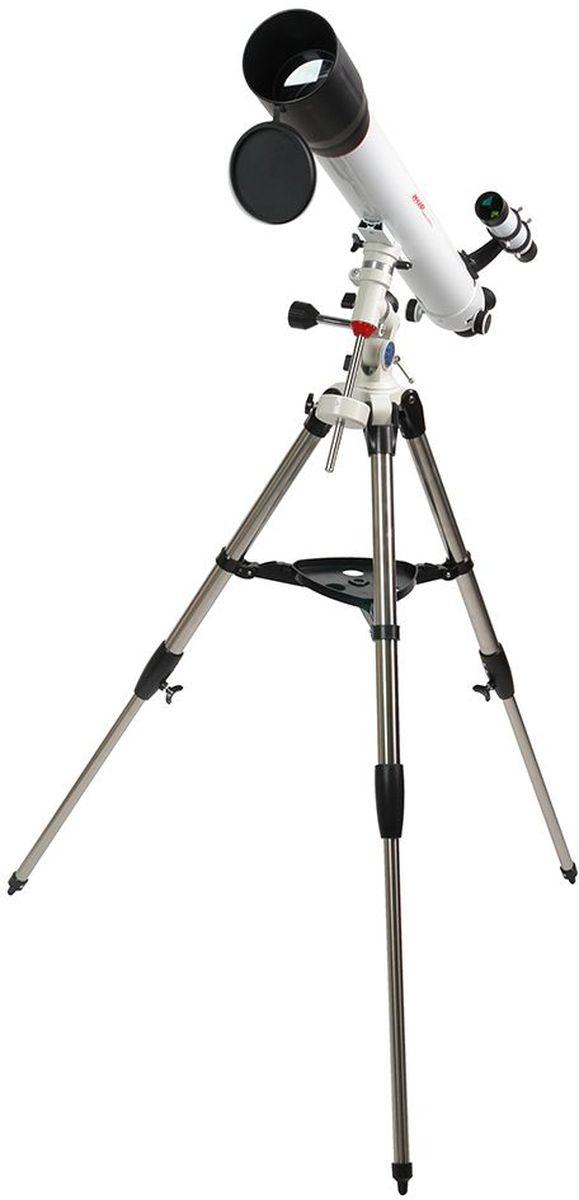 Veber 900/90 EQ8 PolarStar телескоп23062Ахроматический рефрактор (линзовый), диаметр объектива - 90 мм, фокусное расстояние - 900 мм, экваториальная монтировка EQ8 с механизмами тонких движений по обеим осям. ОПИСАНИЕ Телескоп Veber Polarstar 900?90 EQ8 — это солидный линзовый телескоп (рефрактор), который дает четкое, контрастное изображение. Просветленный ахроматический объектив с диаметром 90 мм, собирает света на 60% больше, чем 70 мм и позволяет наблюдать не только небесные, но и очень удаленные земные объекты. Картинка резкая, без окрашенности изображения по краю поля зрения. В этот телескоп вы сможете увидеть детали на дисках планет, кратеры Луны, многие туманности и звездные скопления (вплоть до 13 m звездной величины). Для земных наблюдений мы рекомендуем использовать окуляр PL20, с которым увеличение телескопа будет 45х при этом ближняя точка фокусировки составит 22,5 м Обратите внимание, этот телескоп дает прямое (не перевернутое) изображение. Кроме того, наличие в окулярном блоке...