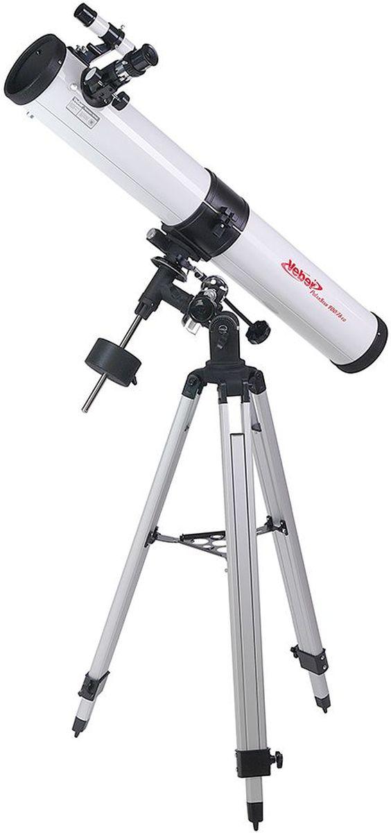 Veber 900/76 EQ PolarStar телескоп23386Зеркальный телескоп-рефлектор Veber 900/76 EQ PolarStar на экваториальной монтировке хорошо подойдет для первого знакомства с астрономией. Прибор имеет внушительные габариты (длина 860 мм, диаметр зеркала 76 мм). Благодаря большому фокусному расстоянию и богатой комплектации оптическими аксессуарами, вы можете выбрать оптимальное увеличение — от 45х для наблюдений днем (ближняя дистанция фокусировки 20,5 м), до 450х — для ночных небесных исследований. В этот прибор вы сможете рассматривать лунные кратеры диаметром около 6 км, Сатурн, Марс, некоторые из ярчайших туманностей. Вес самой трубы невелик, поэтому монтировка типа EQ2 (с возможностью установки дополнительного часового механизма) является оптимальной. Телескоп поставляется в комплекте с алюминиевым штативом, который имеет дополнительные металлические распорки (для повышения устойчивости), и металлическим столиком для аксессуаров.