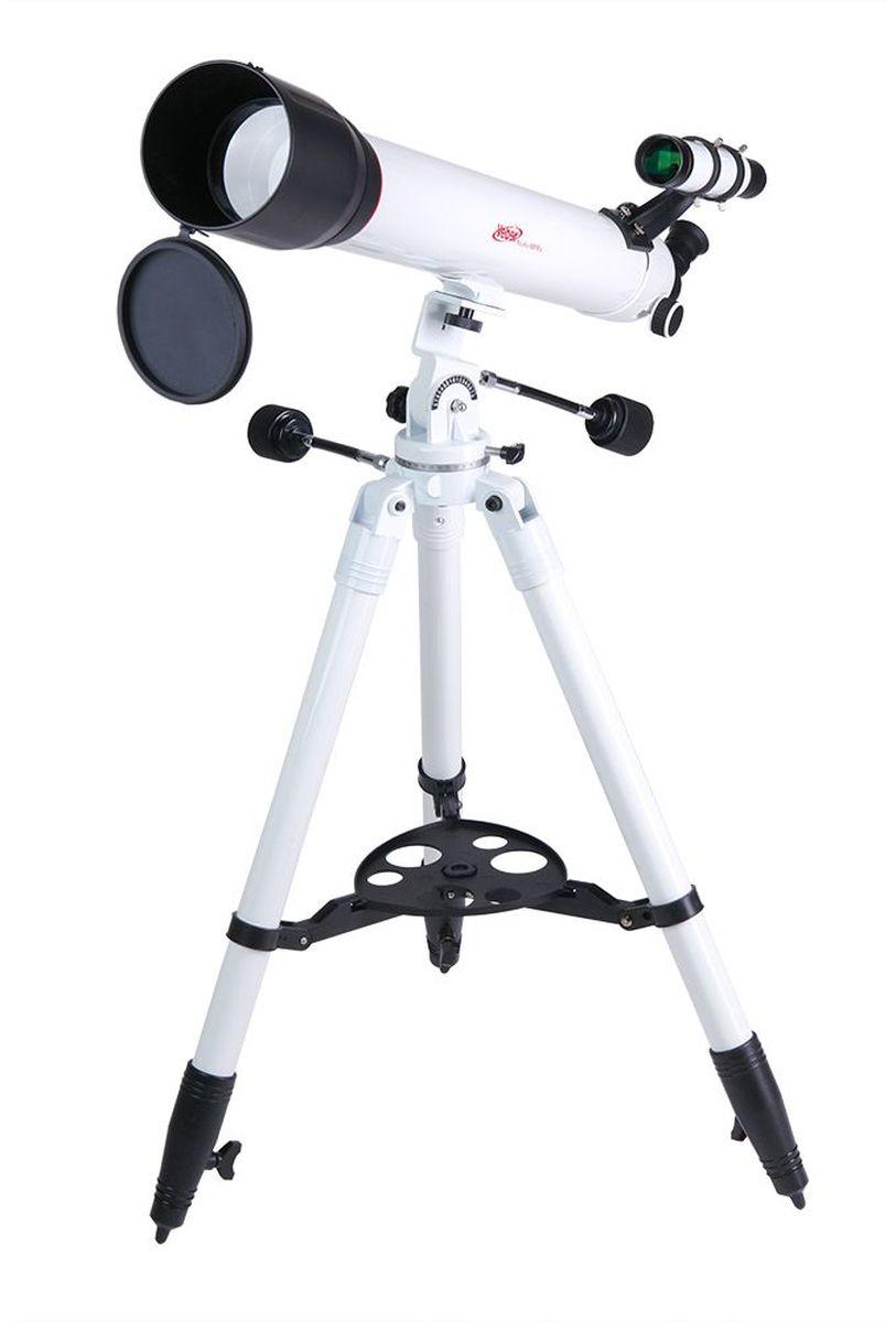 Veber 900/90 AZ PolarStar телескоп23706Телескоп-рефрактор на альт-азимутальной монтировке, фокусное расстояние 900 мм, диаметр линзы 90 мм, увеличение до 300x. В комплекте 2 окуляра (К 9mm и 20mm ), линза Барлоу 3x, сумка для транспортировки телескопа. ОПИСАНИЕ Телескоп Veber Polarstar 900/90 AZ — это солидный линзовый телескоп (рефрактор), который дает четкое, контрастное изображение. Просветленный ахроматический объектив с диаметром 90 мм, собирает света на 60% больше, чем 70 мм и позволяет наблюдать не только небесные, но и очень удаленные земные объекты. Картинка резкая, без окрашенности изображения по краю поля зрения. В этот телескоп вы сможете увидеть детали на дисках планет, кратеры Луны, многие туманности и звездные скопления (вплоть до 13 m звездной величины). Для земных наблюдений мы рекомендуем использовать окуляр К20, с которым увеличение телескопа будет 45х, при этом ближняя точка фокусировки составит 22,5 м Обратите внимание, этот телескоп дает прямое (не перевернутое) изображение....