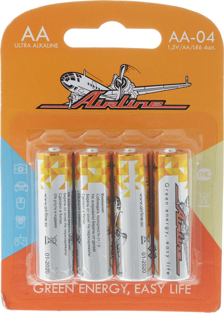 Набор алкалиновых батареек Airline, тип AA, 4 штAA-04Щелочные (алкалиновые) батарейки Airline оптимально подходят для повседневного питания множества современных бытовых приборов: электронных игрушек, фонарей, беспроводной компьютерной периферии и многого другого. Батарейки созданы для устройств со средним и высоким потреблением энергии. Работают в 10 раз дольше, чем обычные солевые элементы питания. В комплект входят четыре батарейки типа AA.
