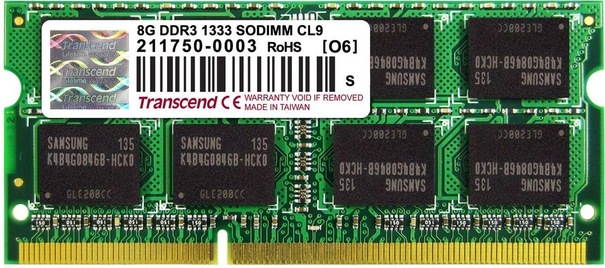Transcend DDR3 SODIMM 8GB 1333МГц модуль оперативной памятиTS1GSK64V3HМиниатюрные размеры модуля памяти Transcend DDR3 SODIMM 8GB делают его подходящим для использования в ноутбуках. Частота 1333 МГц обеспечивает его высокую производительность (этот параметр легко можно отследить с помощью стандартного теста, проведенного любой операционной системой). Установка проста, не занимает много времени и не требует от вас наличия специальных знаний и умений. Модуль изготовлен из высококачественного текстолита, благодаря чему обладает очень высокой прочностью и долговечностью. Количество ранков: 2