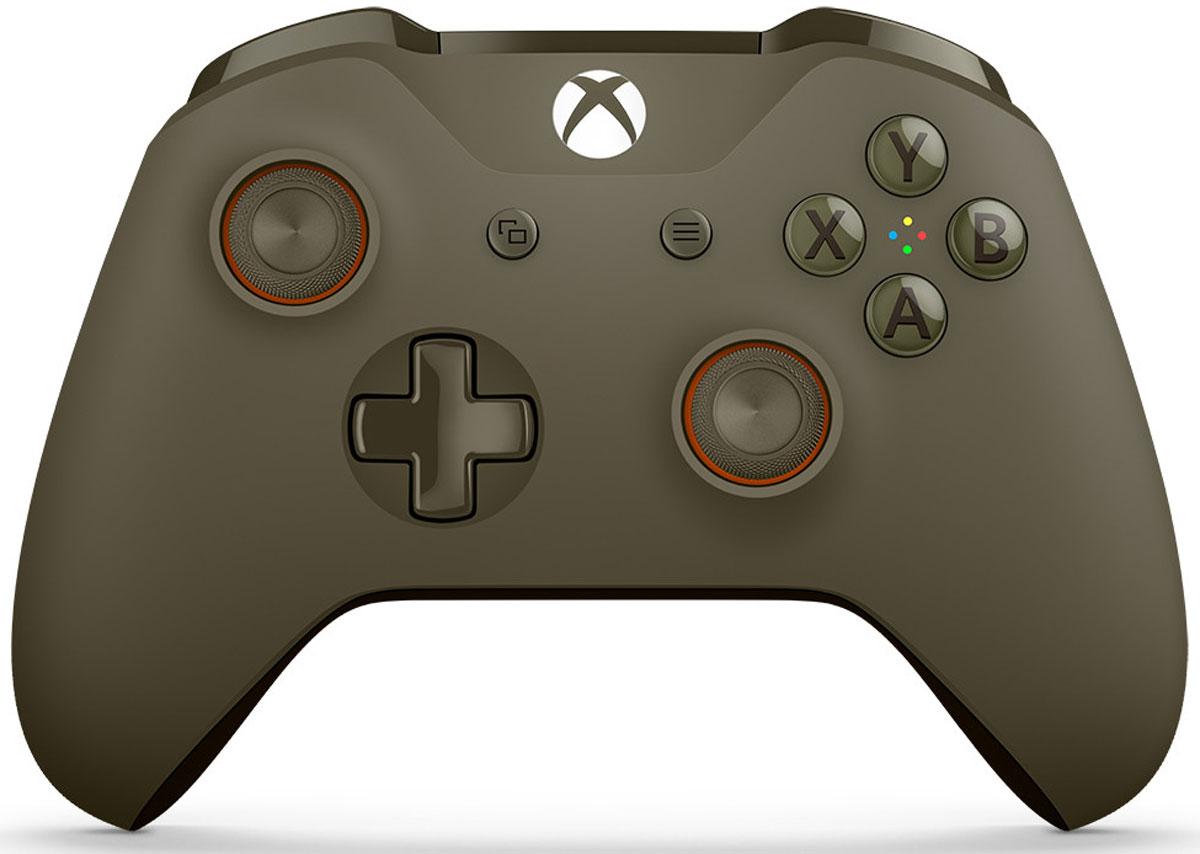 Xbox One беспроводной геймпад цвет оливковыйWL3-00036Ощутите невероятное удобство управления с беспроводным геймпадом Xbox One. Импульсные триггеры обеспечивают вибрационную обратную связь, так что вы почувствуете малейшую тряску и столкновения с высочайшей точностью. Отзывчивые мини-джойстики и усовершенствованная крестовина повышают точность. А к 3,5 - мм стереогнезду можно напрямую подключить любую совместимую гарнитуру. Почувствуйте игру благодаря импульсным триггерам. Вибрационные электродвигатели в триггерах обеспечивают прецизионную обратную связь, передавая отдачу оружия, столкновения и тряску для достижения невиданного реализма в играх! Теперь геймпад оснащен 3,5-мм стереогнездом, к которому можно напрямую подключить любимую игровую гарнитуру. Поддерживается беспроводное обновление прошивки, благодаря чему для обновления не требуется подключать геймпад с помощью кабеля USB. Точность Крестовина отлично реагирует как на касания, так и на нажатия навигационных кнопок ...