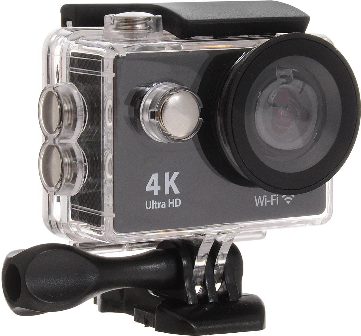 Eken H9R Ultra HD, Black экшн-камераH9RЭкшн-камера Eken H9R Ultra HD позволяет записывать видео с разрешением 4К и очень плавным изображением до 30 кадров в секунду. Камера оснащена 2 TFT LCD экраном. Эта модель сделана для любителей спорта на улице, подводного плавания, скейтбординга, скай-дайвинга, скалолазания, бега или охоты. Снимайте с руки, на велосипеде, в машине и где угодно. По сравнению с предыдущими версиями, в Eken H9R Ultra HD вы найдете уменьшенные размеры корпуса, увеличенный до 2-х дюймов экран, невероятную оптику и фантастическое разрешение изображения при съемке 30 кадров в секунду! Управляйте вашей H9R на своем смартфоне или планшете. Приложение Ez iCam App позволяет работать с браузером и наблюдать все то, что видит ваша камера. В комплекте с камерой идет пульт ДУ работающий на частоте 2,4 ГГц. Он позволяет начинать и заканчивать съемку удаленно.