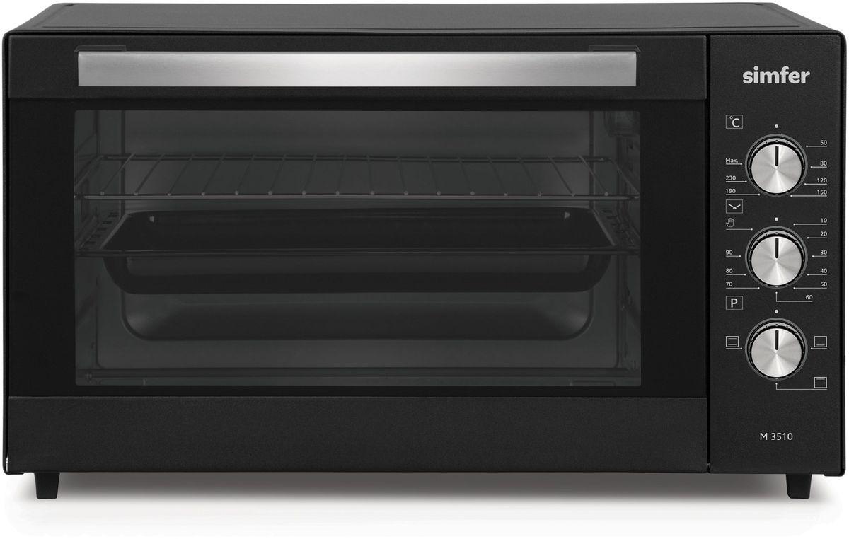 Simfer M3510 мини-печьM3510Полезный объем для приготовления блюд 35 л 3 режима работы Функции - нижний нагрев, верхний нагрев, ниж.+верх. нагрев Механическое управление Таймер на 90 мин. Акустическии? сигнал окончания времени приготовления при работе таймера Термостат (t нагрева 0–250°С) Дверца - стекло Комплектация: 1 противень (стандартный с антипригарным покрытием), хромированная решетка Мощность: 1300 Вт Вес: 6,8 кг Цвет продукта: черный Габаритные размеры (ВхШхГ), мм:300х495х360