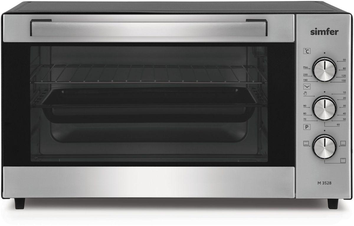 Simfer M3528 мини-печьM3528Электропечь Simfer M4203 с антипригарным покрытием порадует всех любителей готовить быстро, вкусно и всегда удачно, поскольку обладает лучшими рабочими режимами и функциями для получения самых разнообразных блюд и прекрасной выпечки! Объем духовки равен 35 литрам с мощным верхним и нижним нагревом, благодаря чему всегда можно побаловать себя и своих близких замечательной сочной курочкой с аппетитно хрустящей поджаренной корочкой, а также приготовлением домашнего шашлыка! Температура приготовления регулируется в диапазоне от 0 до 250 градусов, а также можно выбрать время приготовления блюд благодаря таймеру с установкой до 90 минут. Simfer M4203 проста в уходе за счет наличия антипригарного покрытия рабочих поверхностей. Дверца духовки оборудована широкой ненагревающейся ручкой, что поможет вам избежать ожогов.