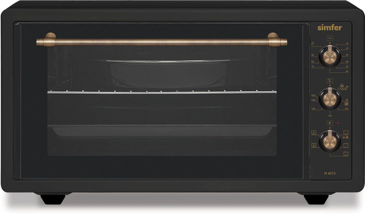 Simfer M4573 мини-печьM4573Полезный объем для приготовления блюд 45 л Мультифункциональная духовка 5 режимов работы Функции - нижний нагрев, малый гриль, ниж.+верх. нагрев, ниж.+верх. + конвекция, большой гриль, большой гриль + конвекция) Механическое управление Таймер на 90 мин. Акустическии? сигнал окончания времени приготовления при работе таймера Термостат (t нагрева 0–250°С) Галогеновое освещение Дверца - двойное стекло Комплектация: 2 противня (стандартный и глубокий с антипригарным покрытием), хромированная решетка Мощность: 1400 Вт Вес: 11 кг Цвет продукта: рустик антрацит