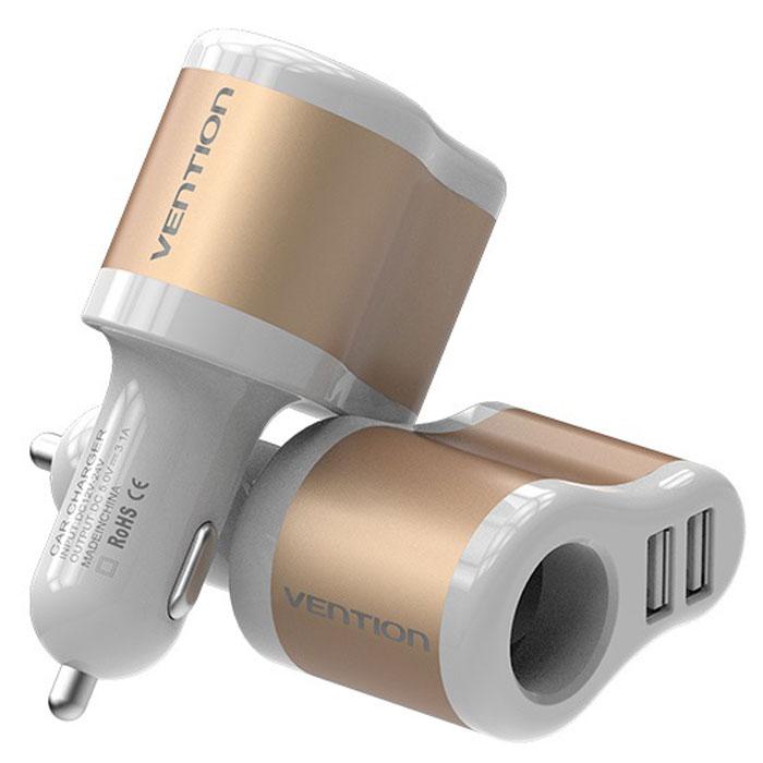 Vention CJBW0 3.1A-2xUSB AF + разветвитель, White Gold автомобильное зарядное устройствоCJBW0Автомобильный адаптер для зарядки устройств от разъема для прикуривателя автомобиля посредством USB-кабеля и других устройств. Обладает функцией защиты от короткого замыкания. Может одновременно заряжать сразу 3 устройства без потерь. Синяя подсветка USB-разъемов обеспечит видимость для коммутации устройств, а также подчеркнет индивидуальный интерьер в салоне автомобиля. Материал корпуса выполнен из несгораемого материала. Продукция соответствует следующим сертификатам: RoHS, CE, FCC, TIA, ISO. Спецификация: Тип разъема: USB AF x 2 / разветвитель F Входное напряжение: 12 / 25 В Выходное напряжение: 5 В+/-5% Выходной ток: 3100 мАч Совместимость: устройства поддерживающие силу тока 2.1А или 1А Материал корпуса: Алюминий + АБС-пластик Индикатор питания: синий Цвет: золотой Комплектация: автомобильный адаптер питания