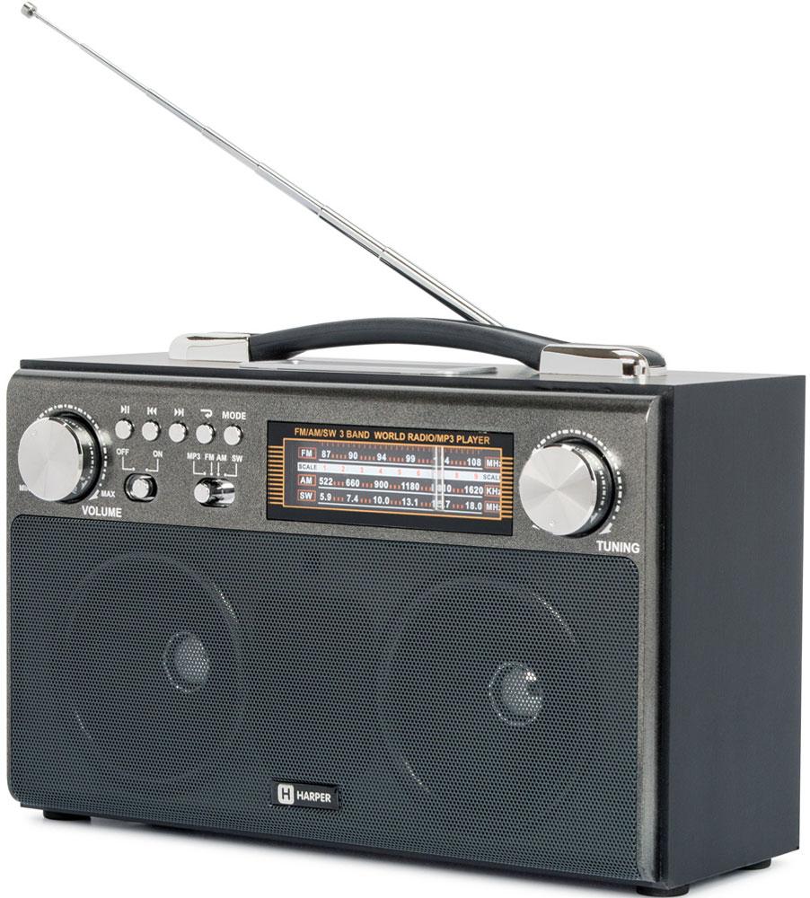 Harper HDRS-033, Black радиоприемникH00001250Радиоприемник Harper HDRS-033 обеспечивает уверенный прием радиоканалов сразу в трех диапазонах вещания: FM (ультракорткие волны - 88-108 МГц), SW (короткие волны - 5,9-18 МГц) и AM (средние волны в диапазоне 522-1620 КГц). Вместе с тем, Harper HDRS-033 поддерживает обработку радиосигналов с помощью цифровой технологии DSP (за это отвечает микросхема SILICON LABS SI4836). В любой момент радиоприемник может превратиться в mp3-плеер благодаря поддержке таких карт памяти, как MicroSD (TF), SD (MMC) и даже накопителей с интерфейсом подключения USB. Переключение режима работы происходит автоматически. Достаточно установить карту в соответствующий слот. Harper HDRS-033 оснащен встроенным аккумулятором на 1400 мАч, и может работать как от сети переменного тока 220 В, так и от батарей типа D (R20). Для удобной переноски в верхней части устройства имеется специальная ручка.