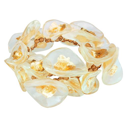 Браслет Lalo Treasures, цвет: белый, золотой. B2538B2538Яркие дизайнерские акссесуары от Lalo Treasures станут отличным дополнением к Вашему стилю
