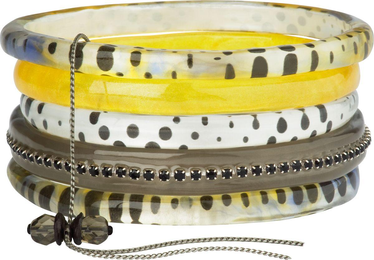 Браслет Lalo Treasures, цвет: коричневый, желтый. Bn2503Bn2503Оригинальный браслет Lalo Treasures выполнен из ювелирной смолы и металлического сплава. Декоративные элементы собраны на металлическую цепочку с бусинами. Стильное украшение поможет дополнить любой образ и привнести в него завершающий яркий штрих.