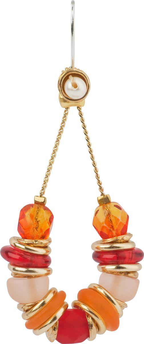 Серьги Lalo Treasures, цвет: оранжевый, золотой. E3484/3E3484/3Оригинальные серьги Lalo Treasures изготовлены из металлического сплава, дополнены декоративными элементами из ювелирной смолы. Изделие застегивается на замок-петля, который надежно зафиксирует серьги. Стильные серьги не оставят равнодушной ни одну любительницу изысканных украшений и помогут создать собственный неповторимый образ.