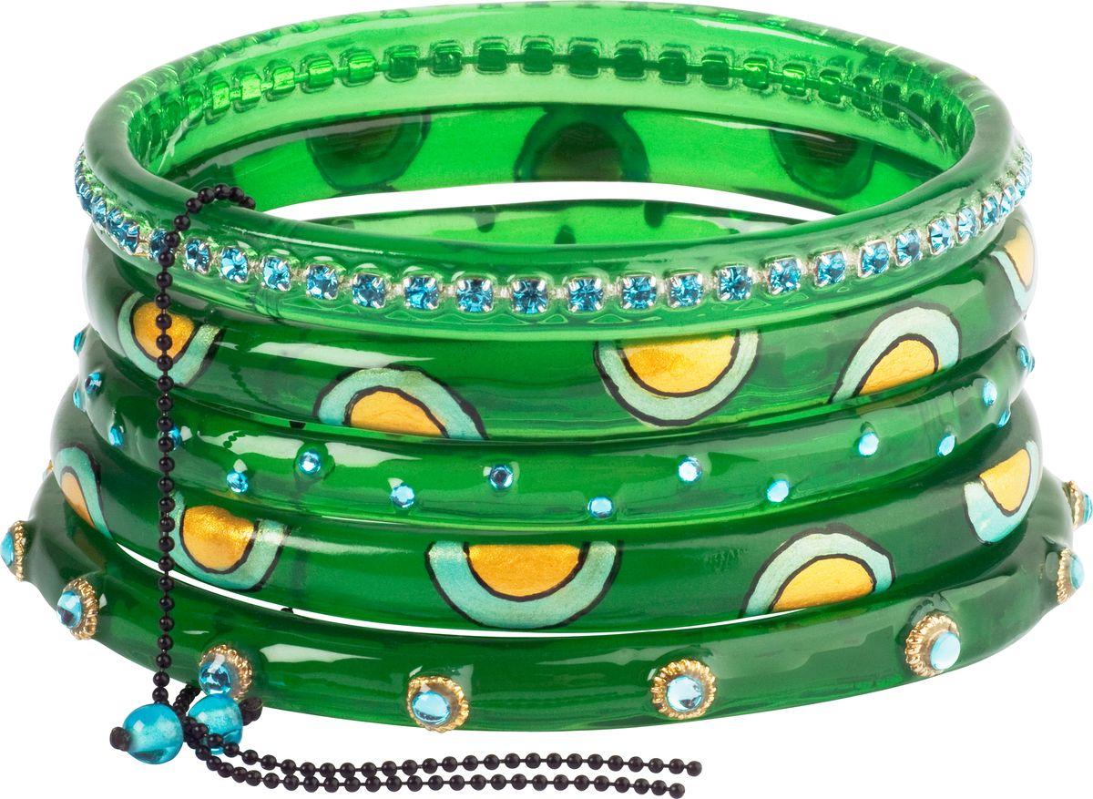 Браслет Lalo Treasures, цвет: зеленый, желтый. B2441/2B2441/2Яркие дизайнерские акссесуары от Lalo Treasures станут отличным дополнением к Вашему стилю